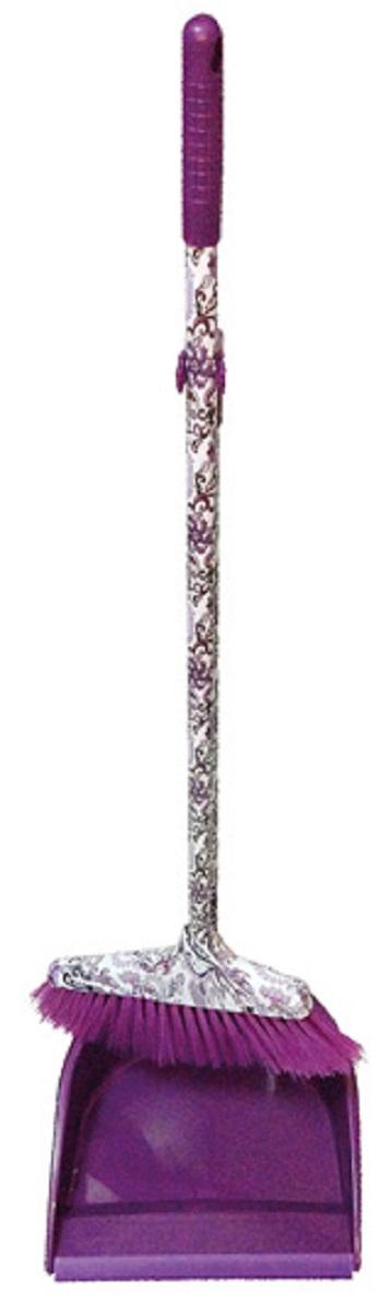 Набор для уборки МФК-профит Восточные узоры: щетка, совок, цвет: фиолетовый, 2 предмета щетка утюжок мфк профит восточные узоры цвет сиреневый 11 x 5 5 x 7 см