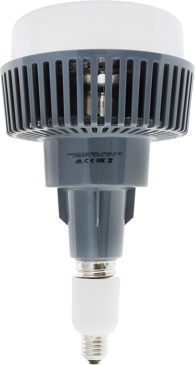 Светодиодная лампа KOSMOS PREMIUM 100Вт Е40, совместитима со светильниками типа НСП-17. Для использования в патроне Е27, переходник в комплекте. Заменяет промышленные лампы ДРВ 500 Вт, ДРИ 175 Вт и ДРЛ 250 Вт.