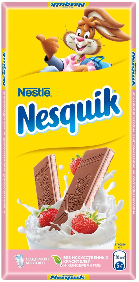 Nesquik молочный шоколад с клубничной начинкой и кальцием, 100 г каши semper молочная овсяная каша с яблоком и бананом с 6 мес 200 г