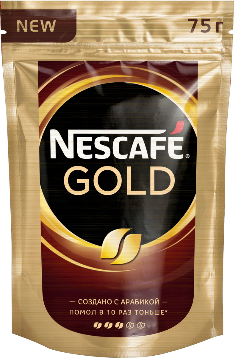 Nescafe Gold Кофе растворимый сублимированный с добавлением натурального жареного молотого кофе, 75 г nescafe кофе nescafe gold растворимый 150г