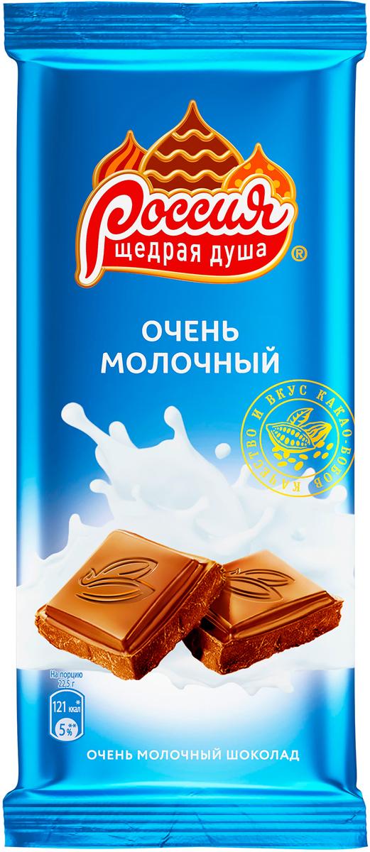 Россия-Щедрая душа! молочный шоколад, 90 г россия щедрая душа молочный шоколад с кокосом и вафлей 90 г