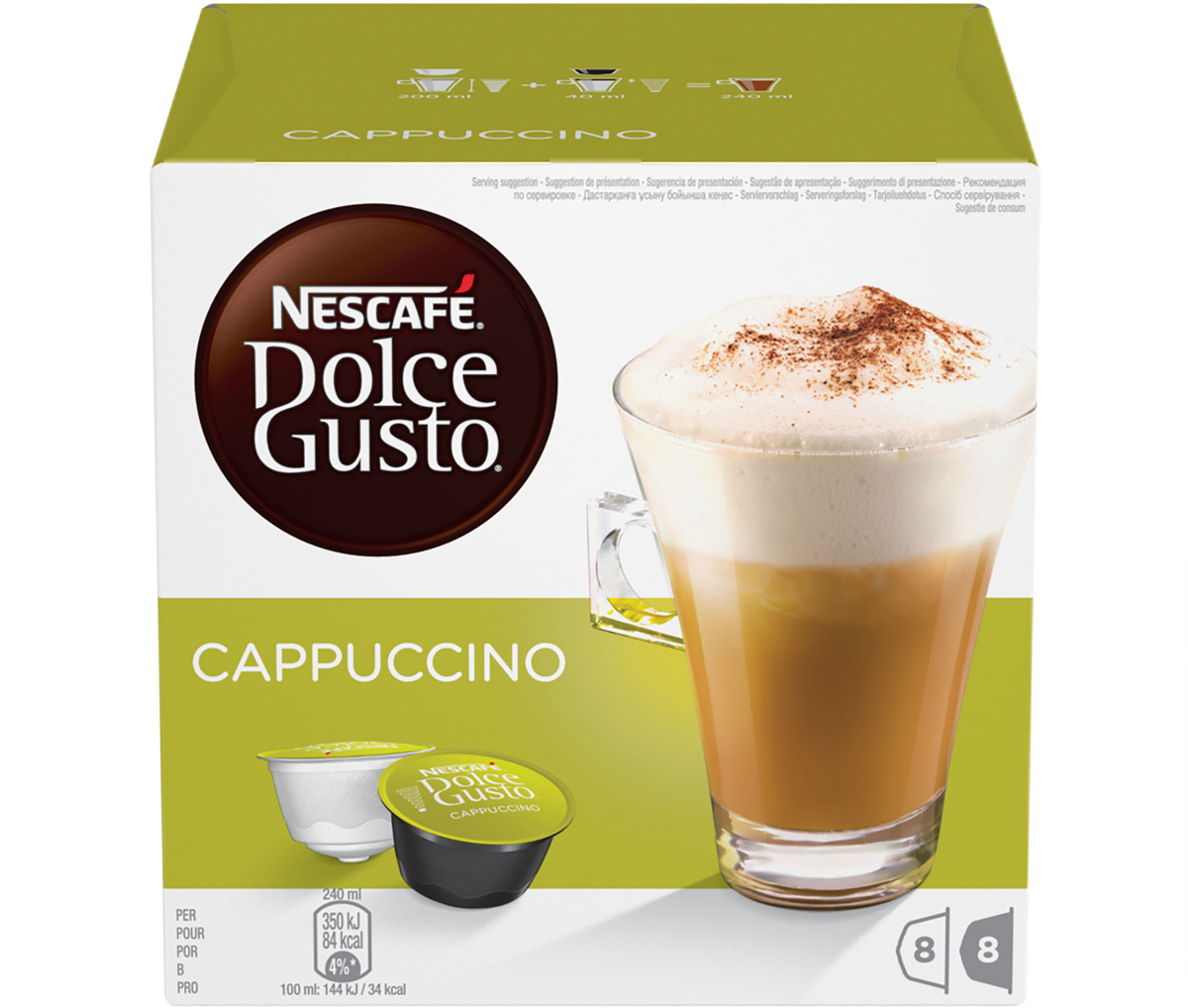 Nescafe Dolce Gusto Cappuccino кофе в капсулах, 16 шт nescafe dolce gusto cortado эспрессо с молоком кофе в капсулах 16 шт