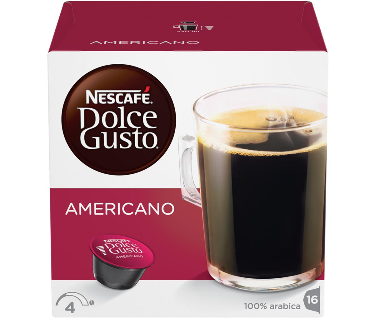 Nescafe Dolce Gusto Americano кофе в капсулах, 16 шт nescafe dolce gusto cortado эспрессо с молоком кофе в капсулах 16 шт