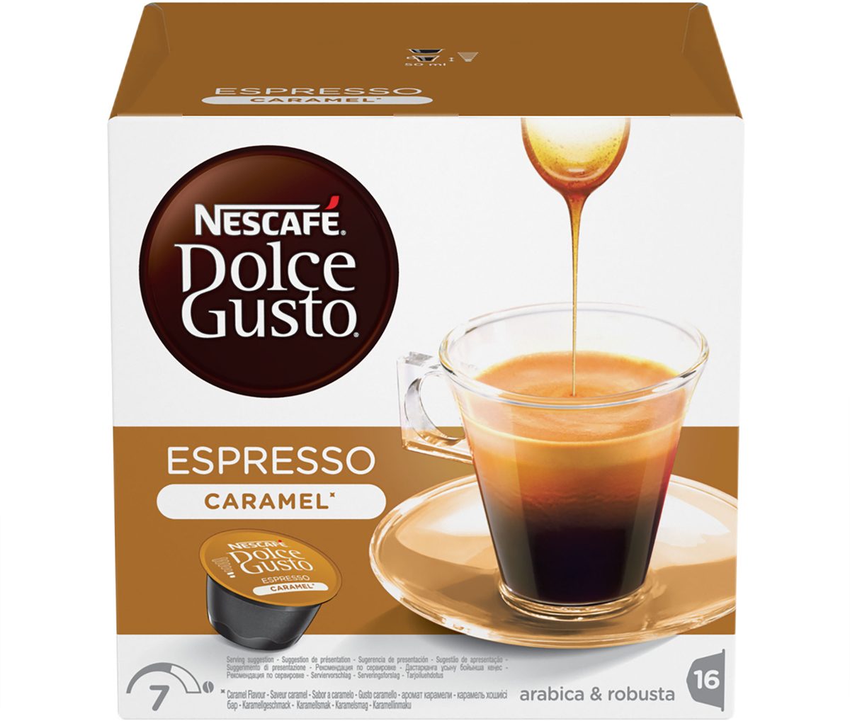 Nescafe Dolce Gusto Espresso Caramel кофе в капсулах, 16 шт кофе sokolov кофе в капсулах sokolov эспрессо лунго 10 шт
