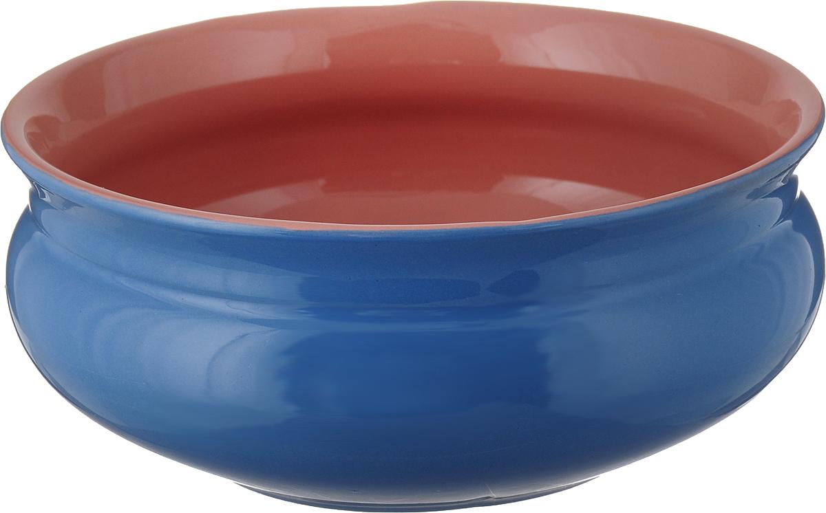 """Тарелка глубокая Борисовская керамика """"Скифская"""", цвет: голубой, розовый, 800 мл"""