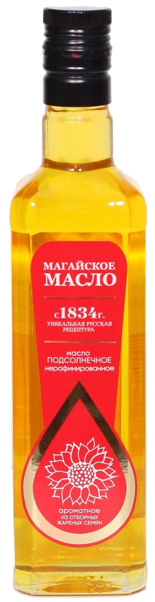 Магайское масло подсолнечное нерафинированное ароматное из отборных жареных семян высший сорт, 500 мл
