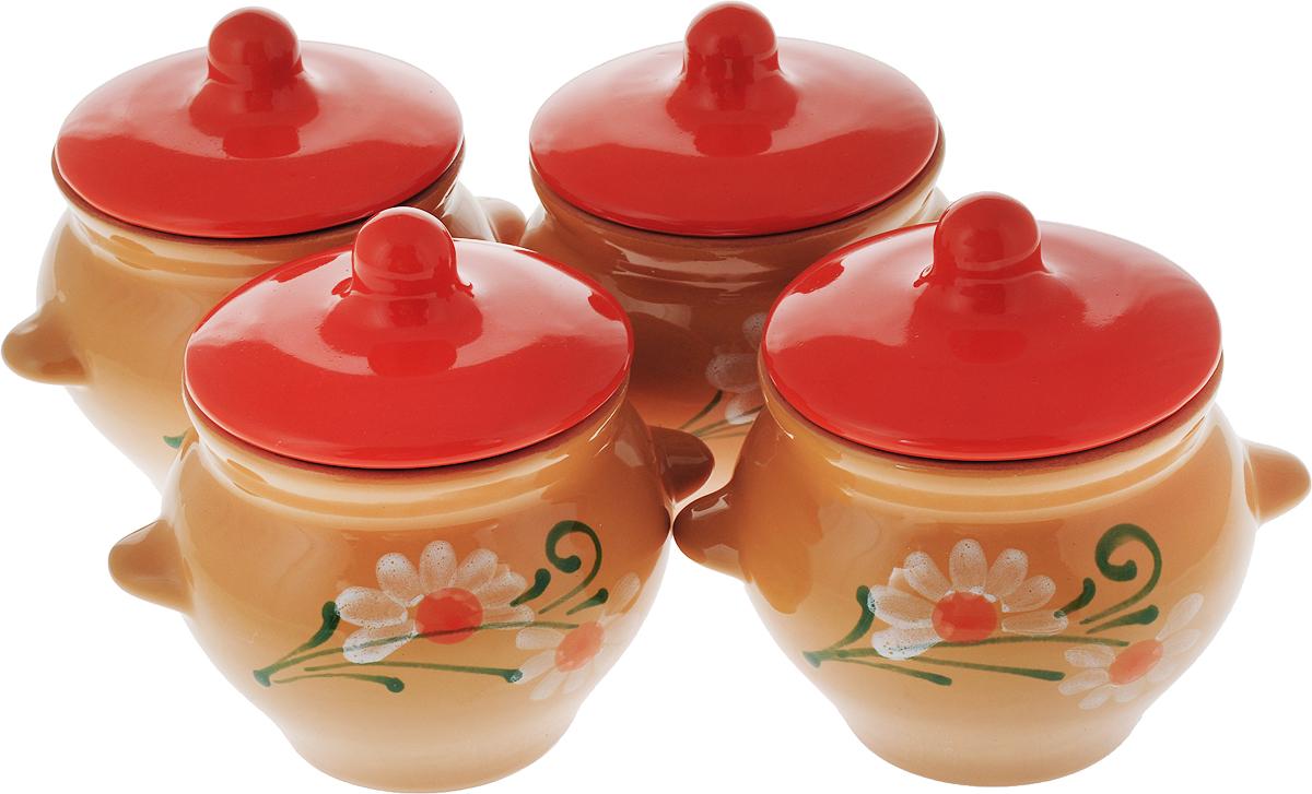 Набор горшочков для запекания Борисовская керамика Стандарт, с крышками, цвет: светло-коричневый, оранжевый, 500 мл, 4 шт. ОБЧ00000079