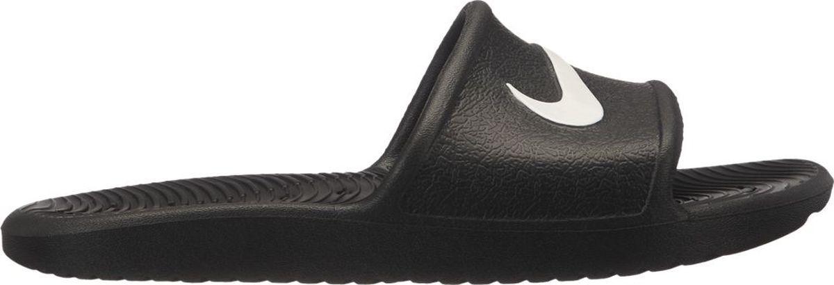 Шлепанцы для мальчика Nike Kawa Shower, цвет: черный. AQ0899-001. Размер 5Y (36,5)AQ0899-001Практичные шлепанцы от Nike не оставят равнодушным вашего мальчика! Модель изготовлена из износостойкого полимерного материала. Подъем изделия оформлен логотипом бренда. Рифление на подошве обеспечивает отличное сцепление с любой поверхностью. Шлепанцы прекрасно подойдут для повседневного использования в бассейне, дома или на отдыхе.