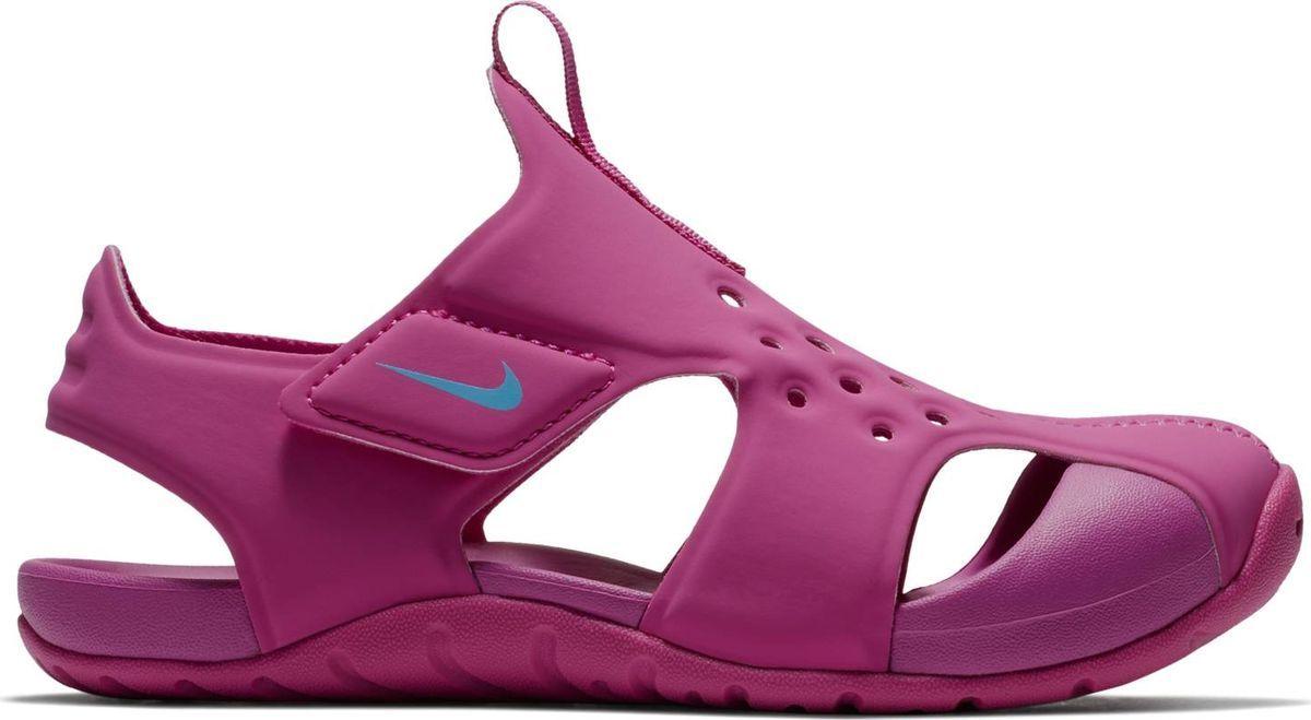 Сандалии для девочки Nike Sunray Protect 2, цвет: фиолетовый. 943828-500. Размер 3Y (34)943828-500Сандалии для девочек дошкольного возраста Sunray Protect 2 от Nike полностью закрывают пальцы. Верх из водоотталкивающего эластичного текстиля обеспечивает естественный комфорт. Подошва из материала Phylon для невесомой амортизации. Подметка с прекрасным сцеплением идеальна для игр на свежем воздухе. Застежки-липучки для быстрого переобувания и верх с отверстиями для вентиляции предохраняют ноги от перегрева.