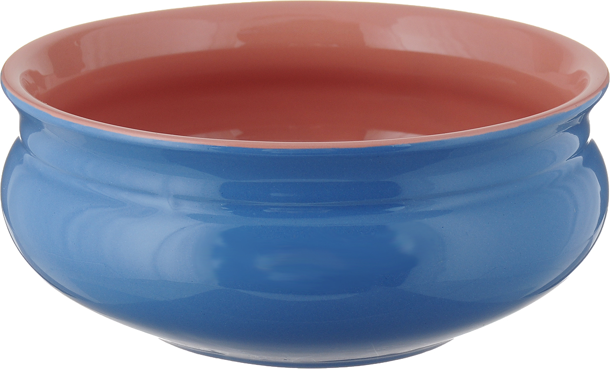 """Тарелка глубокая Борисовская керамика """"Скифская"""", цвет: синий, розовый, 800 мл"""
