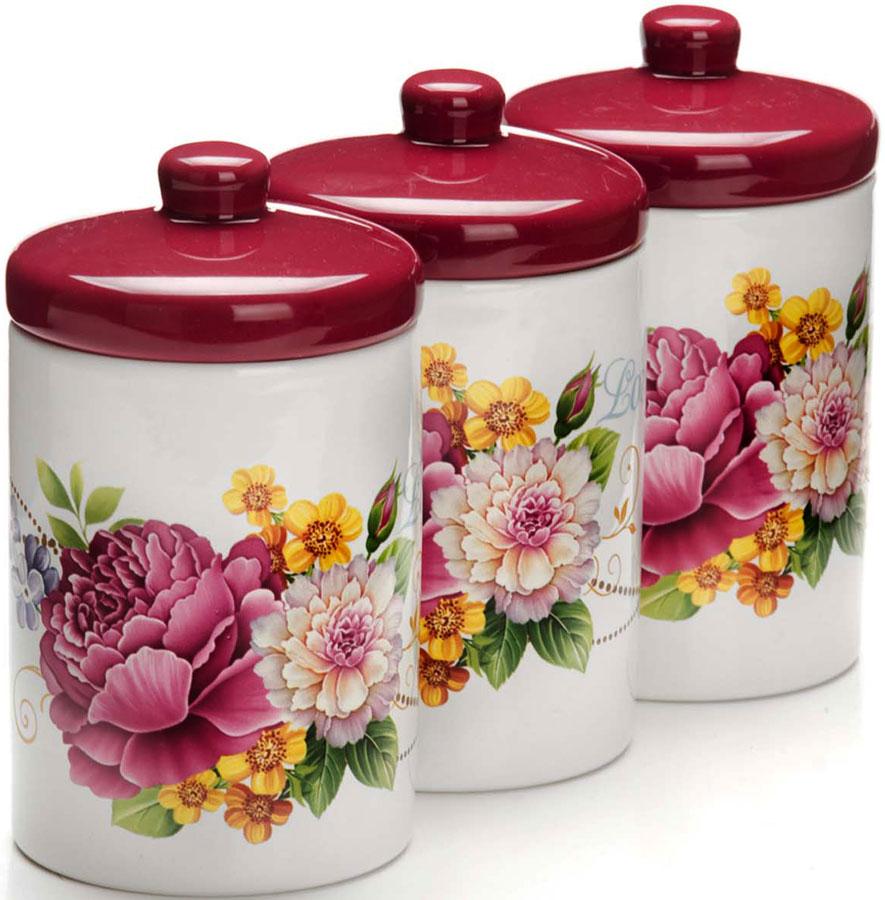 Набор банок для сыпучих продуктов Loraine Букет, 400 мл, 6 предметов. 26237 набор банок для сыпучих продуктов loraine бабочки 6 предметов 25633