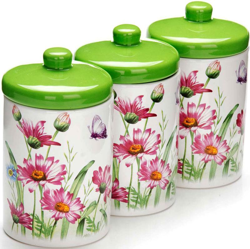 Набор банок для сыпучих продуктов Loraine Цветы , 400 мл, 6 предметов. 26252 набор банок для сыпучих продуктов loraine бабочки 6 предметов 25633