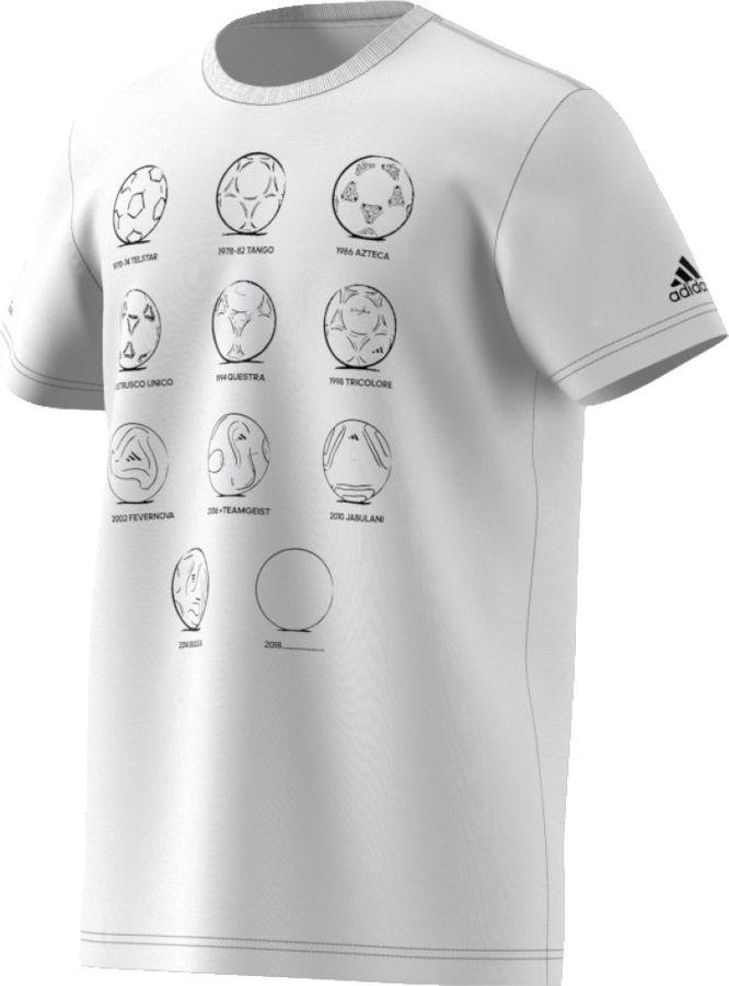 Футболка мужская Adidas Rd 2 Rus FtBall, цвет: белый. CW2092. Размер S (44/46)CW2092Все внимание приковано к России - стране, принимающей Чемпионат мира. Встречайте историческое событие в этой мужской футболке. Модель из 100% хлопка украшена графикой спереди и эмблемой adidas на рукаве.