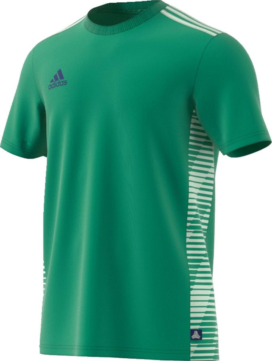 Футболка мужская Adidas TAN CL JSY, цвет: зеленый. CG1805. Размер S (44/46)CG1805Эта мужская футболка от adidas сочетает в себе футбольный и уличный стили. Быстросохнущая ткань Climalite отводит излишки влаги. Боковые панели украшены графикой Tango. Три полоски на плечах и свободный крой завершают образ.