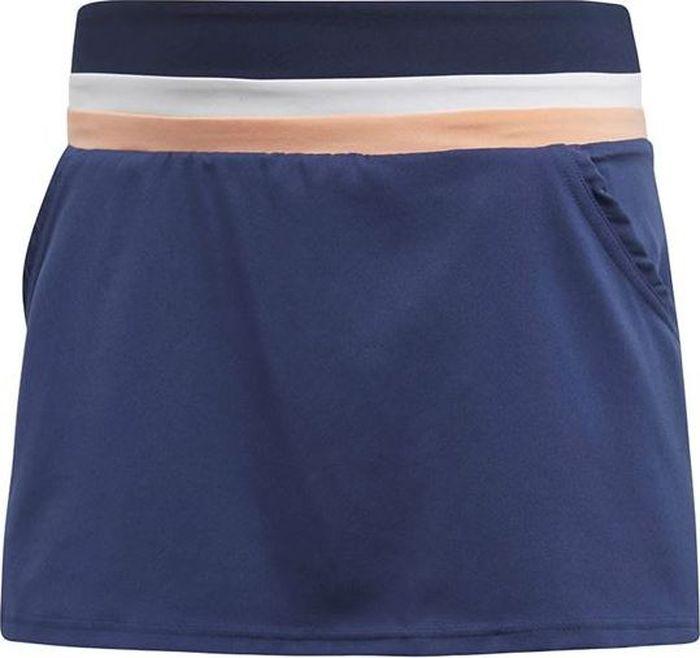 Юбка adidas Club Skirt, цвет: синий. CE0377. Размер L (48/50)CE0377Мини-юбка от adidas выполнена из 100% полиэстера. Модель с широкой трикотажной резинкой на талии по бокам дополнена втачными карманами.