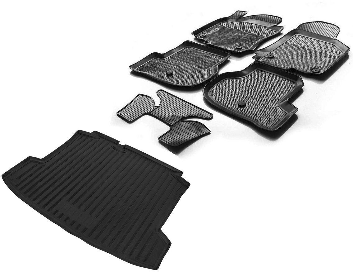 Купить Комплект ковриков салона и багажника Rival для Volkswagen Polo седан 2010-2015 2015-н.в., полиуретан. K15804003-2