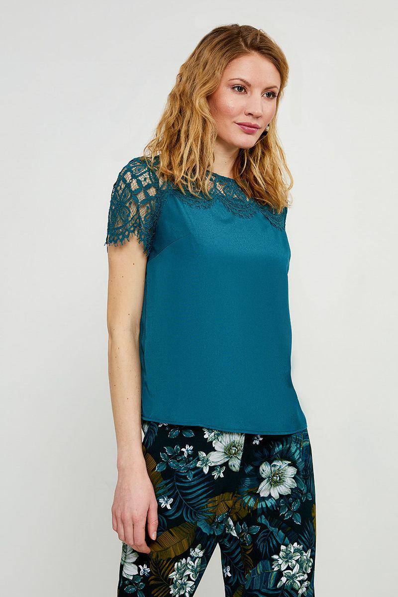Блузка женская Zarina, цвет: темно-зеленый. 8224073303017. Размер 48 блузка quelle zarina 1017146