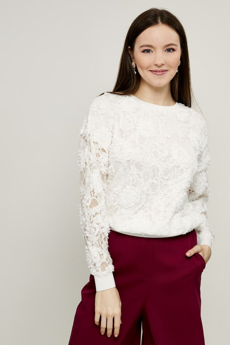 Джемпер женский Zarina, цвет: белый. 8224547442001. Размер M (46) джемпер женский zarina цвет бирюзовый 8122613810016 размер s 44