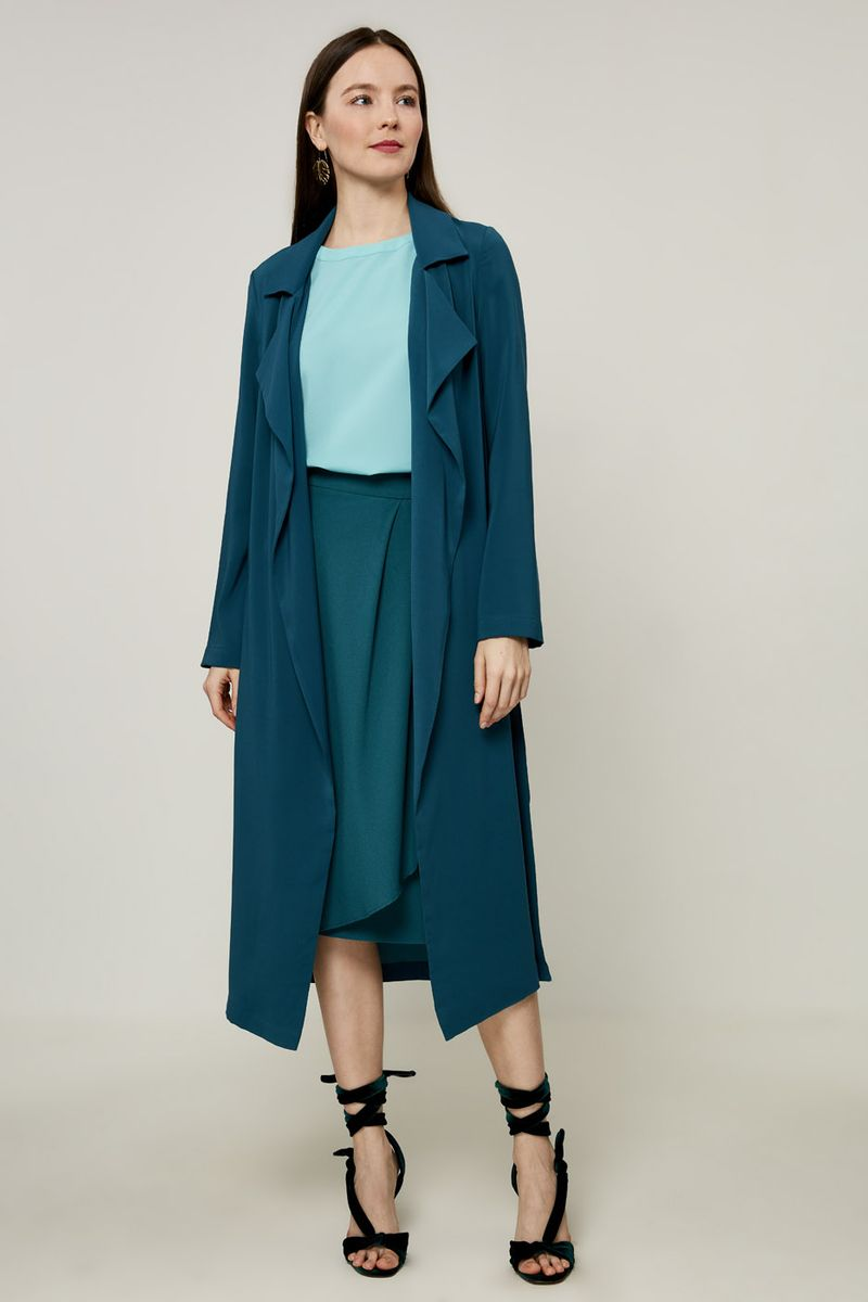 Пальто женское Zarina, цвет: темно-зеленый. 8225209601017. Размер 48