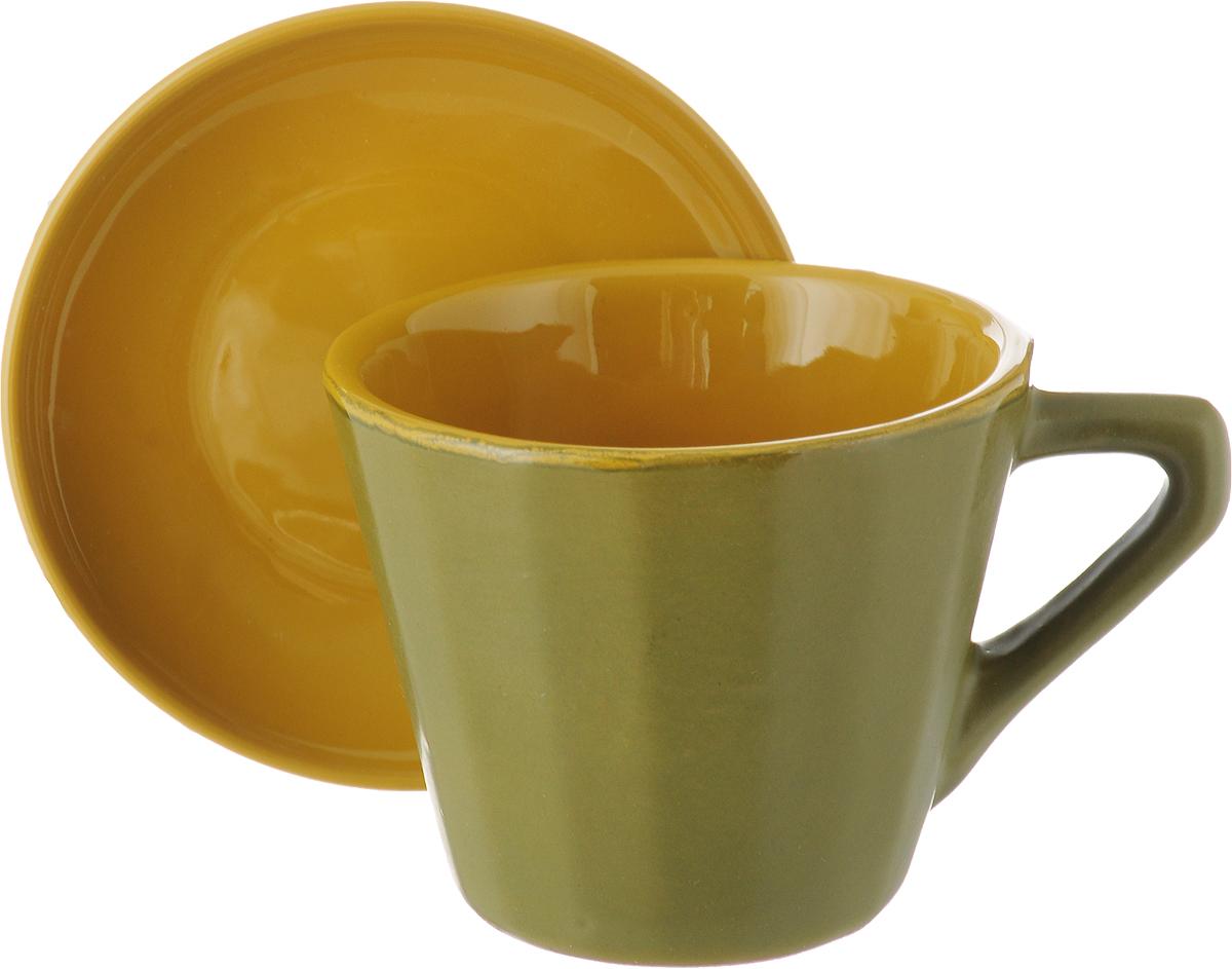 Чайная пара Борисовская керамика Ностальгия, цвет: оливковый, горчичный, 200 мл кокотница борисовская керамика ностальгия цвет красный 200 мл рад14457899