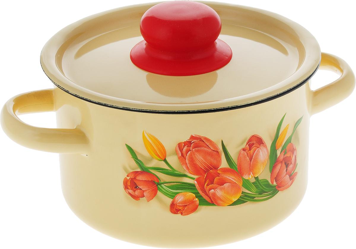 Кастрюля эмалированная СтальЭмаль Тюльпаны с крышкой, цвет: желтый, 1,5 л