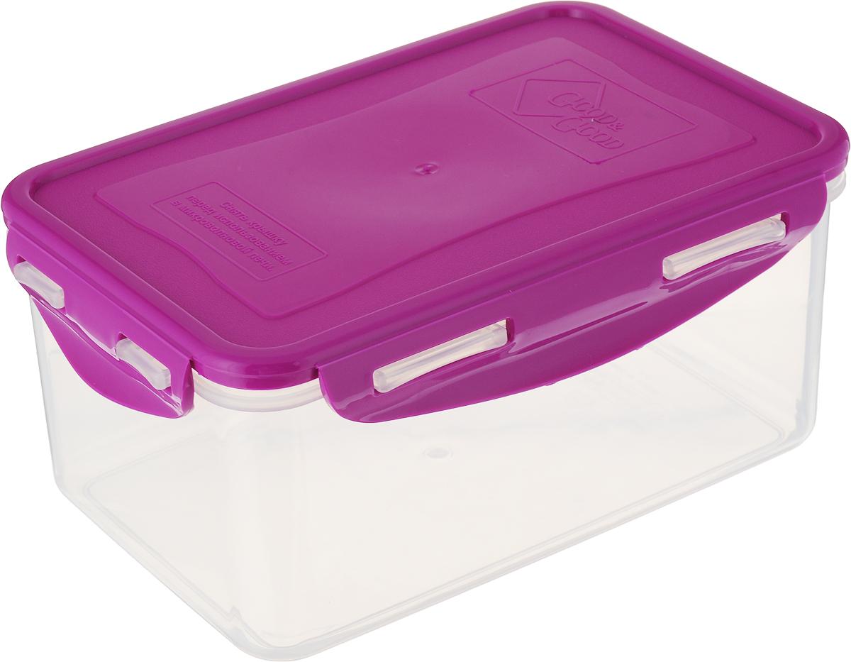 Контейнер пищевой Good&Good, цвет: прозрачный, фуксия, 1,5 л. B/COL 3-2 контейнер good&good 2 2 л 13х20х13 см прямоуг полипропилен