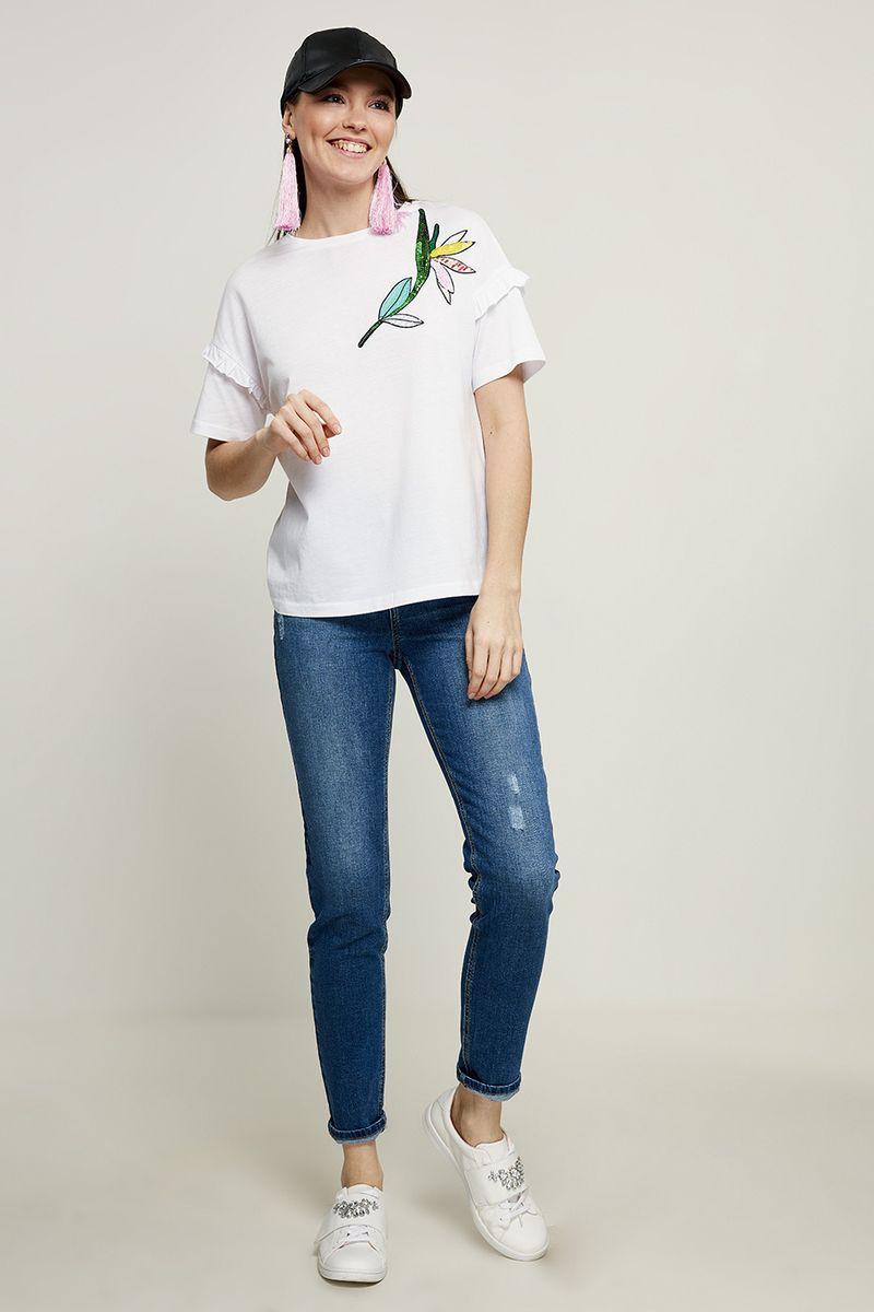 Футболка женская Zarina, цвет: белый. 8225500400001. Размер XL (50)