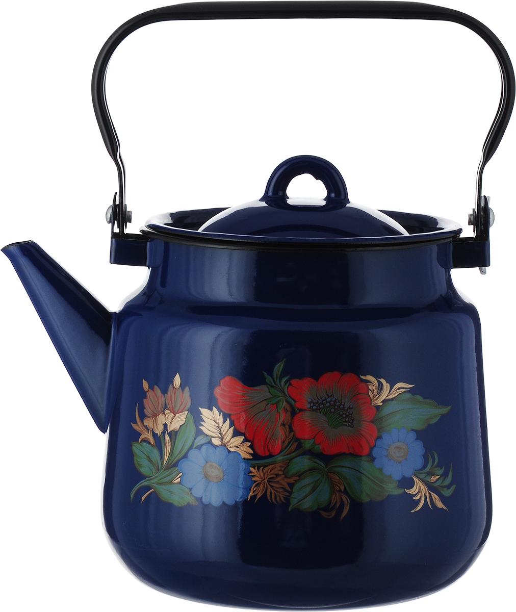 """Чайник СтальЭмаль """"Цветочный"""", цвет: синий, красный, голубой, 3,5 л"""