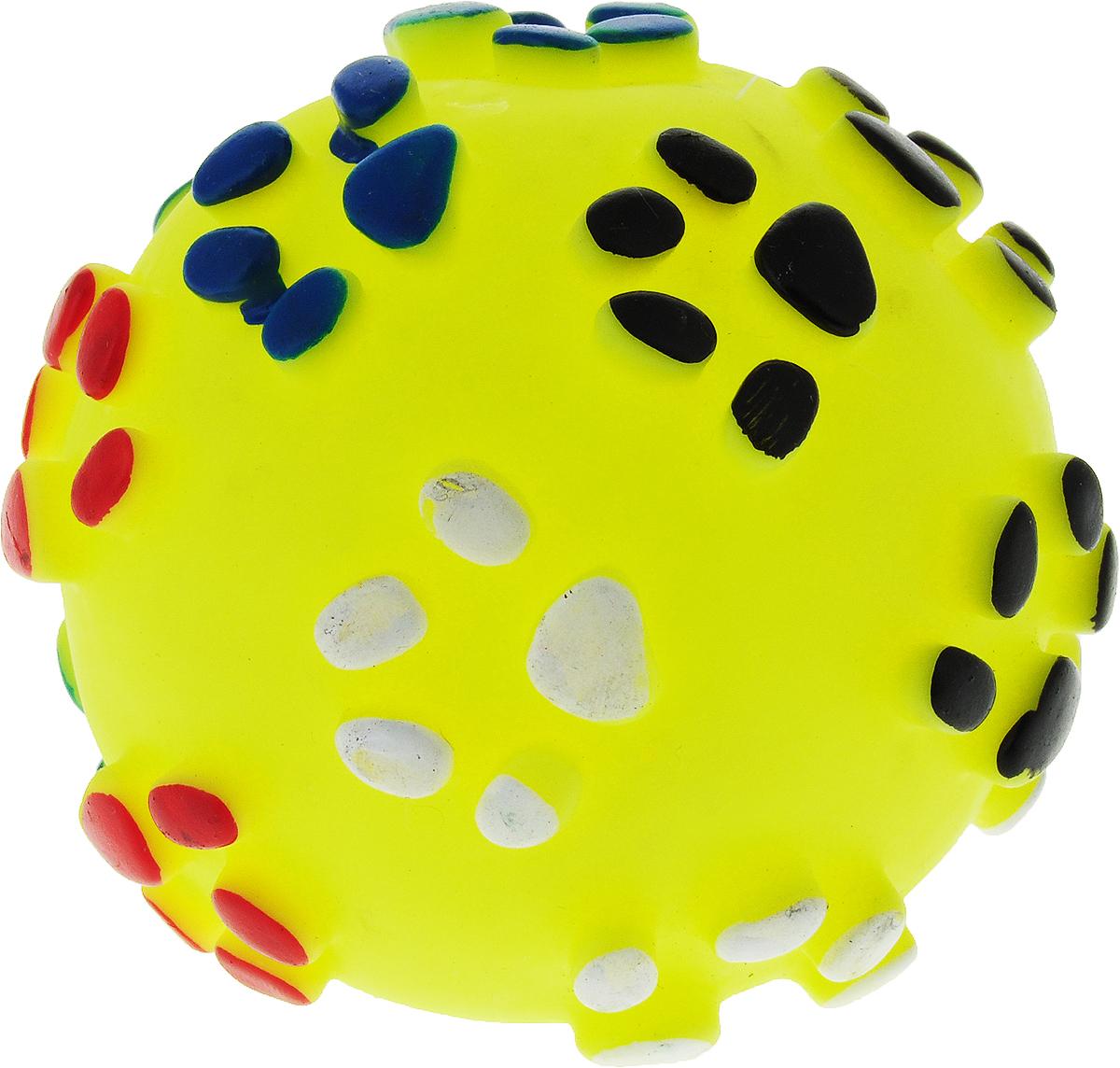 Игрушка для собак Уют Мяч лапки, цвет: желтый, 8,5 см уют