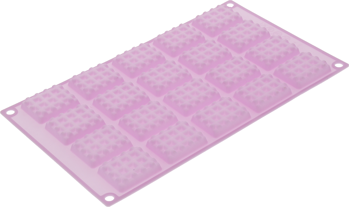 Форма для выпечки Marmiton Прямоугольное печенье, силиконовая, цвет: сиреневый, 20 ячеек