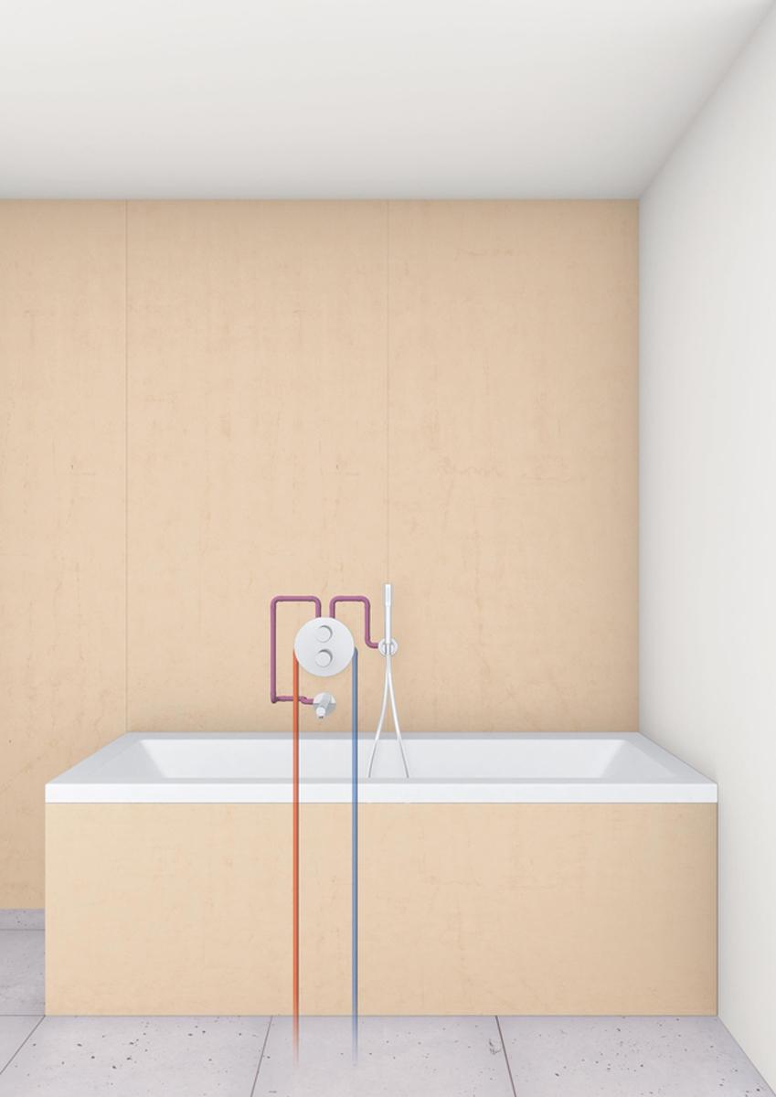 """Излив для ванны с настенным монтажом. Хромированная поверхность. Аэратор, внешняя резьба 1/2"""", минимальное давление 1,0 бар."""