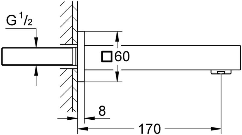 """Излив для ванны с настенным монтажом. Хромированная поверхность. Аэратор, внешняя резьба 1/2"""", вынос 170 мм, минимальное давление 1,0 бар."""