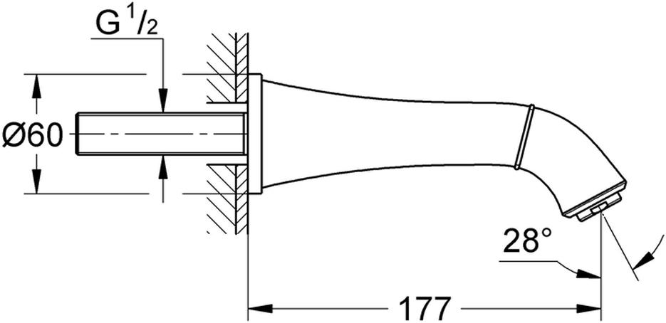 Излив для ванны с настенным монтажом. Хромированная поверхность. Аэратор, вынос излива 177 мм, минимальное давление 1,0 бар.