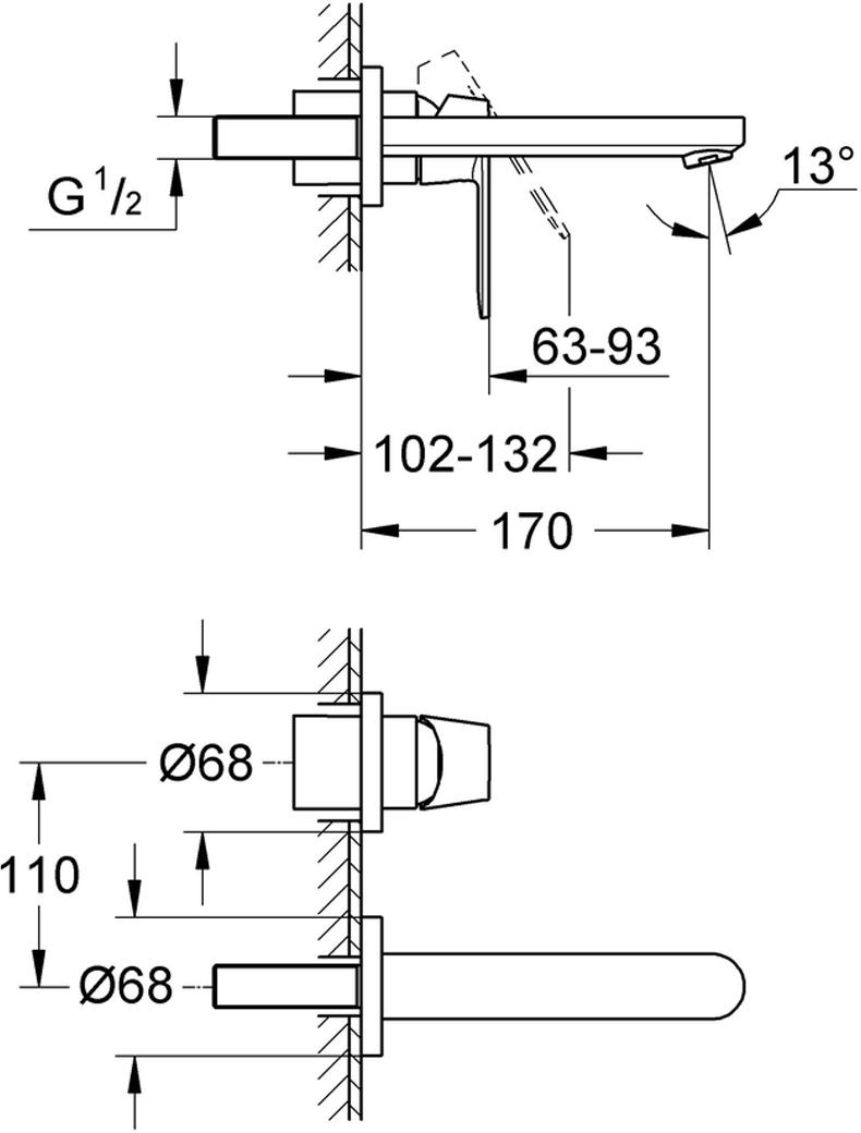"""Комплект верхней монтажной части смесителя для раковины GROHE """"Eurosmart Cosmopolitan"""". Настенный монтаж. Без встраиваемого механизма. Металлическая розетка, металлический рычаг,  хромированная поверхность, регулируемый аэратор. Размер по осям 110 мм, вынос 170 мм."""