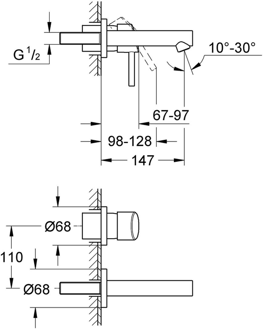 настенный монтажкомплект верхней монтажной части для23 571 000без встраиваемого механизмаметаллическая розеткаметаллический рычагGROHE StarLight хромированная поверхностьGROHE AquaGuide регулируемый аэраторразмер по осям 110 ммвынос 147 мм