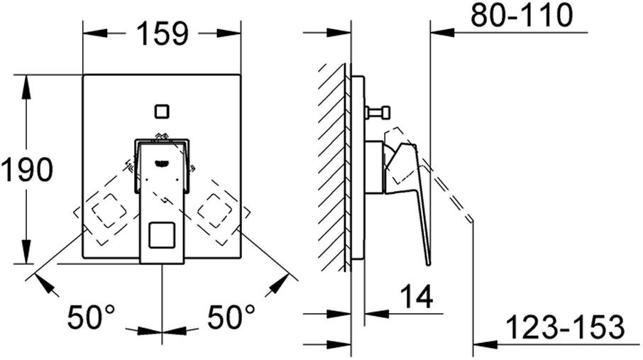 """Комплект верхней монтажной части смесителя для ванны GROHE """"Eurocube"""". Без встраиваемого механизма.  Металлический рычаг, хромированная поверхность, автоматический переключатель: ванна/душ, уплотнитель розетки и рычага, металлическая розетка. Cкрытое крепление."""