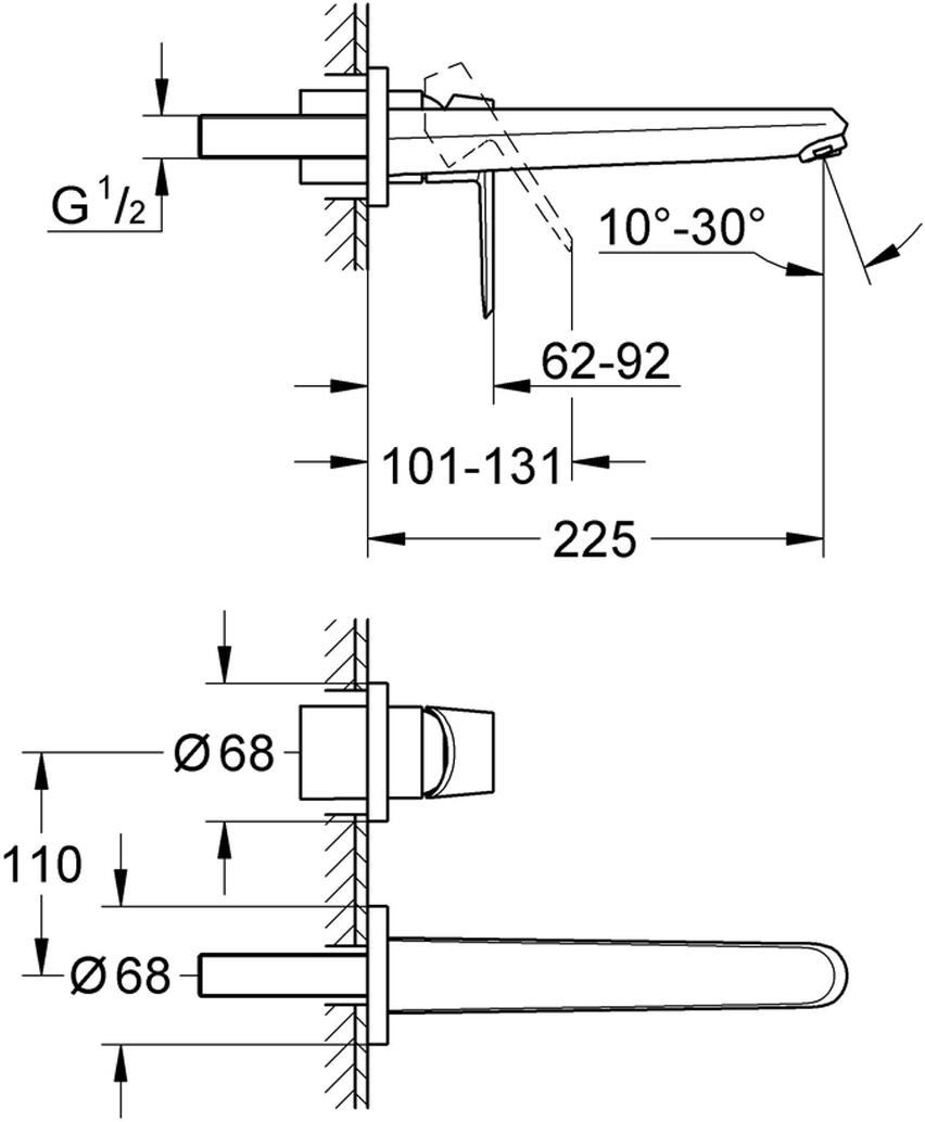 Комплект верхней монтажной части смесителя для раковины. Комплект без встраиваемого механизма. Подходит для настенного монтажа. В комплект входит металлическая плата, металлический рычаг.Внешняя часть смесителя изготовлена из металлического сплава, хромированная поверхность.У смесителя регулируемый аэратор 5,7 л/мин, размер по осям 110 мм, вынос 225 мм.