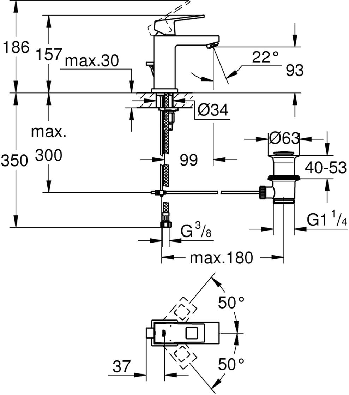 """монтаж на одно отверстиеметаллический рычагGROHE SilkMove керамический картридж 28 ммограничитель температурыGROHE StarLight хромированная поверхностьGROHE EcoJoy SpeedClean аэратор с ограничением расхода воды 5,7 л/минGROHE QuickFix Plus Монтажная системасливной гарнитур 1 1/4""""гибкая подводка"""