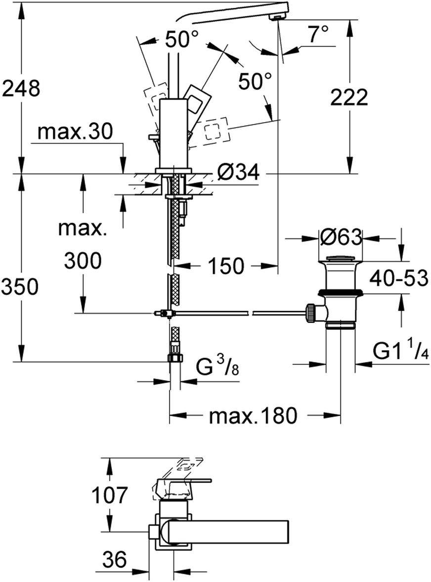 """монтаж на одно отверстиеметаллический рычагGROHE SilkMove керамический картридж 28 ммограничитель температурыGROHE StarLight хромированная поверхностьGROHE EcoJoy SpeedClean аэратор с ограничением расхода воды 5,7 л/минGROHE QuickFix Plus Монтажная системаповоротный, трубкообразный излив с ограничителем поворотасливной гарнитур 1 1/4""""гибкая подводка"""