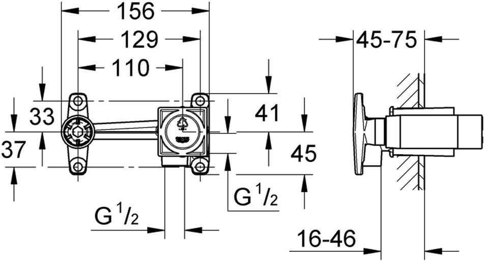 Встраиваемая часть для смесителя на 2 отверстия. Подходит для скрытого монтажа. Встраиваемая часть без комплекта верхней монтажной части. В комплекте керамический картридж 35 мм, регулировка расхода воды, шаблон для монтажа. Глубина монтажа 45 - 75 мм. Встраиваемая часть из DR-латуни.