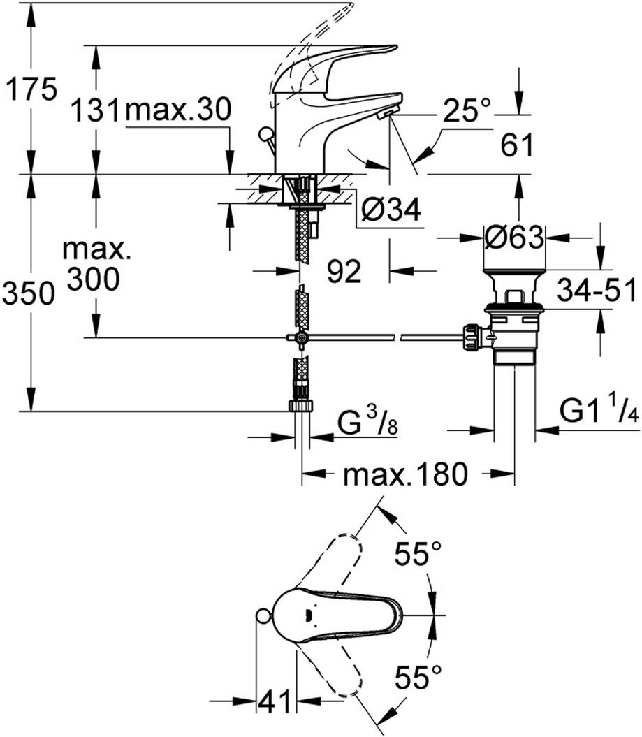 """монтаж на одно отверстиеметаллический рычагGROHE SilkMove керамический картридж 35 ммGROHE StarLight хромированная поверхностьограничитель потока 9 л/мин.система быстрого монтажааэраторсливной гарнитур 1 1/4""""гибкая подводкадополнительный ограничитель температуры (46 375 000)класс шума I по DIN 4109"""