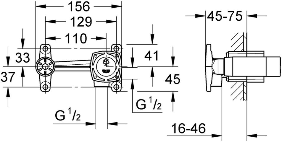 Для смесителя на 2 отверстия.Для скрытого монтажа.Без комплекта верхней монтажной части.GROHE SilkMove керамический картридж 35 мм.Регулировка расхода воды.Глубина монтажа 45-75 мм.Шаблон для монтажа.Минимальное давление 1,0 бар.