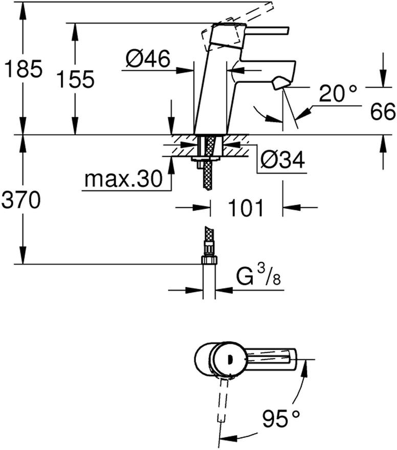металлический рычагмонтаж на одно отверстиеGROHE SilkMove ES Керамический картридж 28 мм с энергосберегающей функцией (подача холодной воды при центральном положении рычага)регулировка расхода водыс ограничителем температурыGROHE StarLight хромированная поверхностьGROHE EcoJoy 5,7 л/минGROHE QuickFix быстрая монтажная системагладкий корпусгибкая подводка