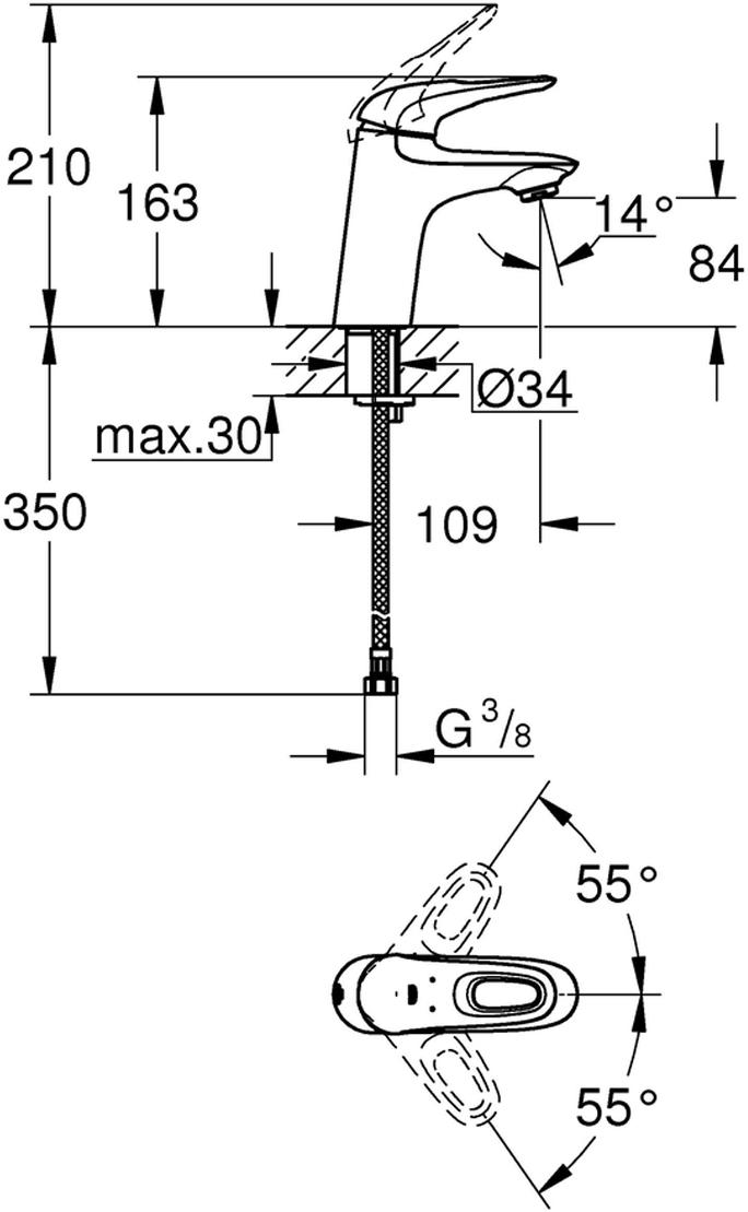 Монтаж на одно отверстие.Металлическая рукоятка (с отверстием).GROHE SilkMove керамический картридж 35 мм.Регулировка расхода воды.С ограничителем температуры.GROHE StarLight хромированная поверхность.GROHE EcoJoy 5,7 л/мин.GROHE Zero раздельные пути подачи воды - не содержит никеля и свинца.GROHE QuickFix быстрая монтажная система.Гладкий корпус.Гибкая подводка.