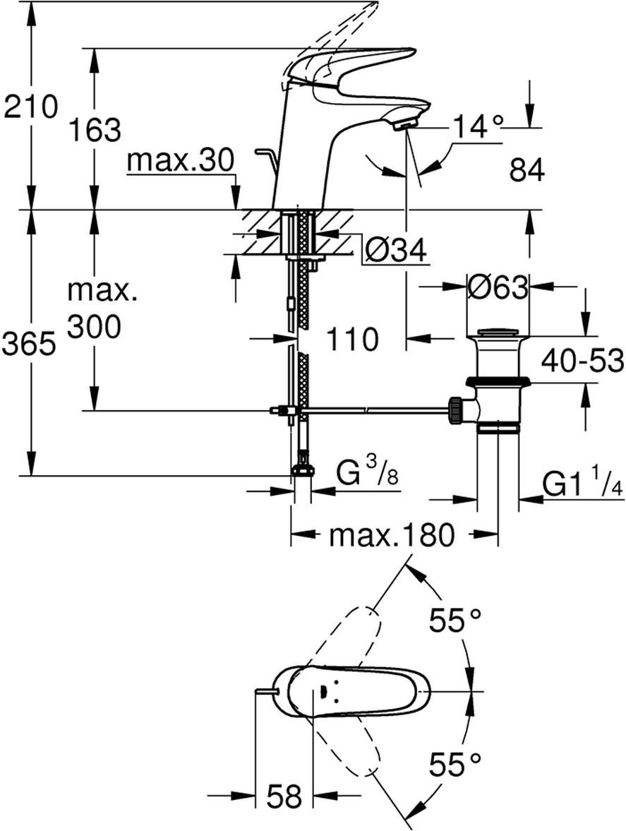 """Монтаж на одно отверстие.Металлический рычаг (без отверстия).GROHE SilkMove керамический картридж 35 мм.Регулировка расхода воды.С ограничителем температуры.GROHE StarLight хромированная поверхность.GROHE EcoJoy 5,7 л/мин.GROHE QuickFix быстрая монтажная система.Сливной гарнитур 1 1/4"""".Гибкая подводка."""