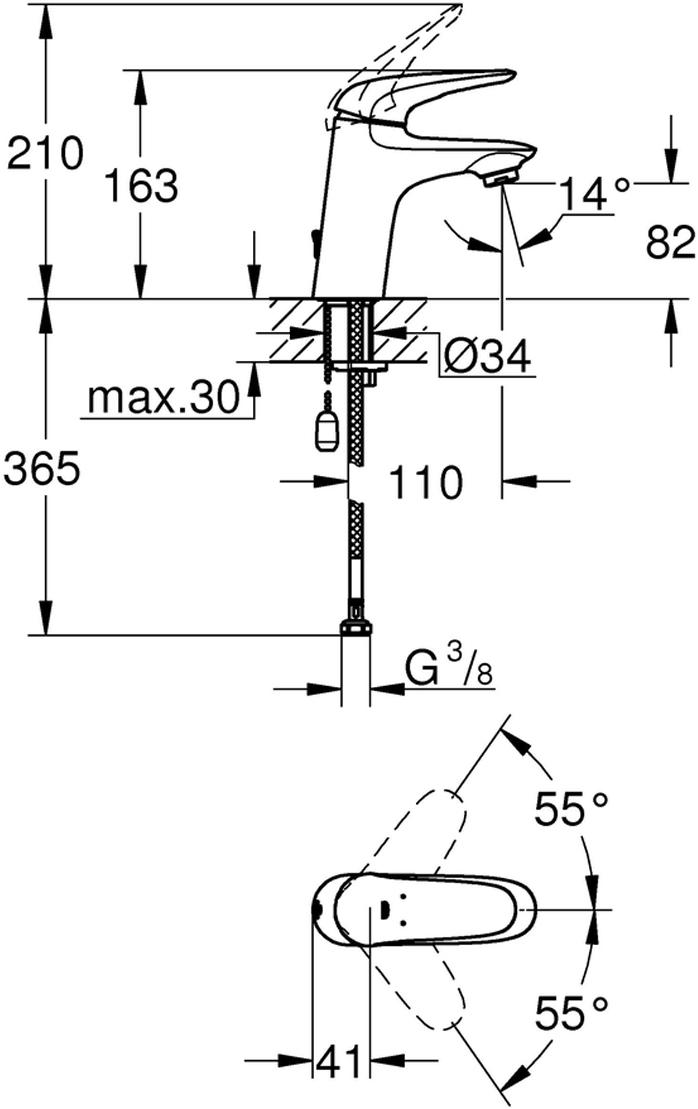 Смеситель однорычажный для раковины.Монтаж на одно отверстие.Металлический рычаг (без отверстия).GROHE SilkMove керамический картридж 35 мм.Регулировка расхода воды.С ограничителем температуры.GROHE StarLight хромированная поверхность.GROHE EcoJoy 5,7 л/мин.GROHE QuickFix быстрая монтажная система.Цепочка.Гибкая подводка.