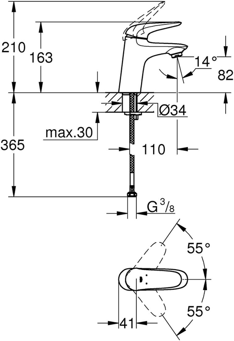 Монтаж на одно отверстие.Металлический рычаг (без отверстия).GROHE SilkMove керамический картридж 35 мм.Регулировка расхода воды.С ограничителем температуры.GROHE StarLight хромированная поверхность.GROHE EcoJoy 5,7 л/мин.GROHE QuickFix быстрая монтажная система.Гладкий корпус.Гибкая подводка.