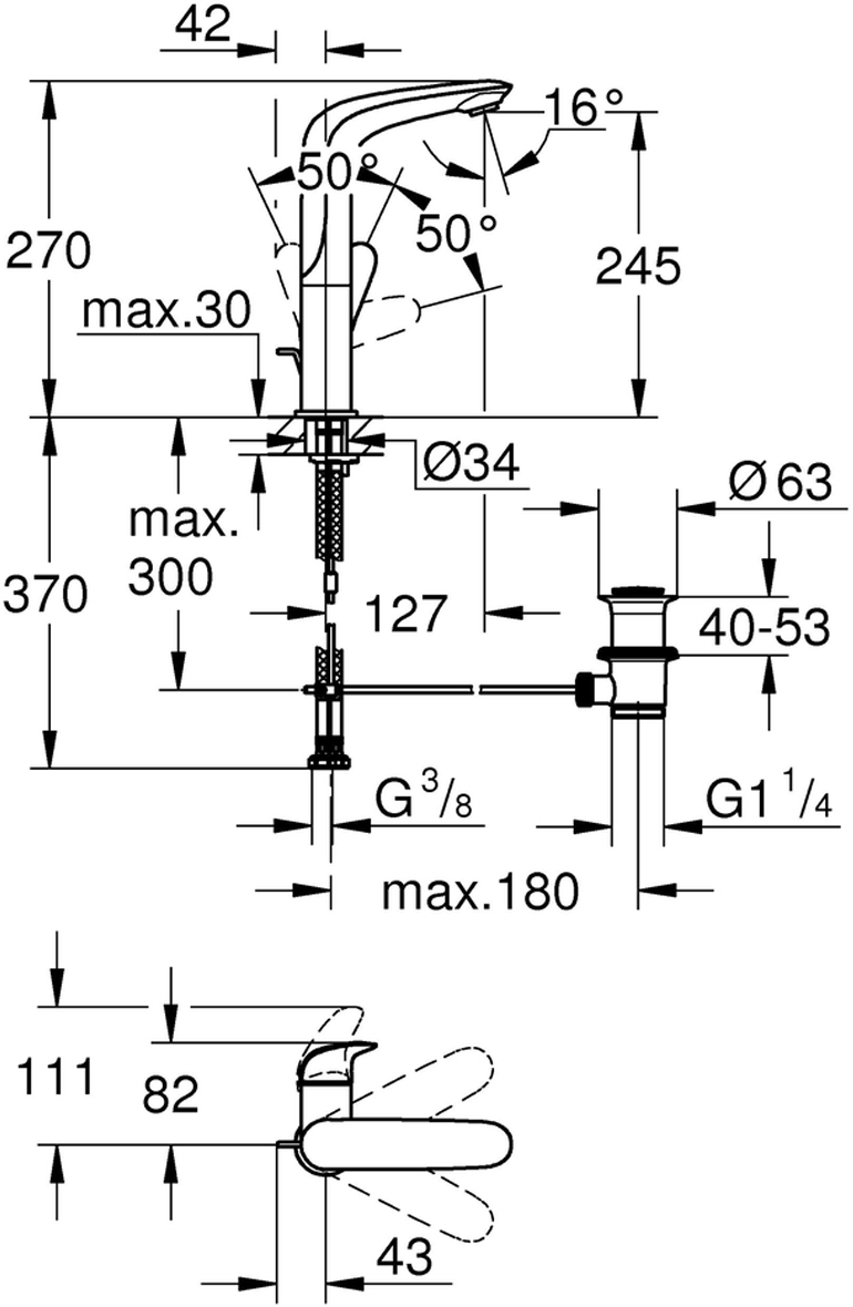 """Монтаж на одно отверстие.Металлический рычаг (без отверстия).С ограничителем температуры.GROHE StarLight хромированная поверхность.GROHE EcoJoy 5,7 л/мин.GROHE QuickFix быстрая монтажная система.Поворотный литой излив.Радиус поворота 360°.Сливной гарнитур 1 1/4""""."""
