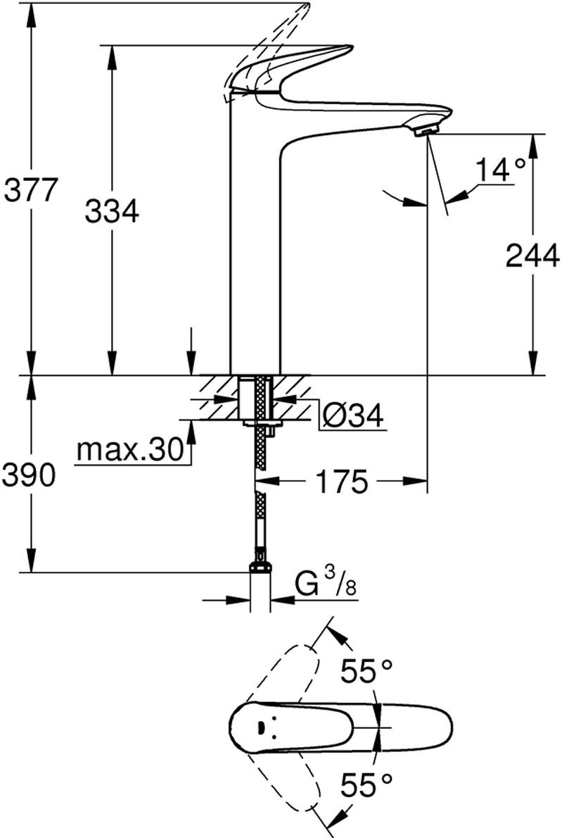 Монтаж на одно отверстие.Металлический рычаг (без отверстия).Для свободностоящих раковин.GROHE SilkMove керамический картридж 35 мм.С ограничителем температуры.GROHE StarLight хромированная поверхность.GROHE EcoJoy 5,7 л/мин.GROHE QuickFix быстрая монтажная система.Гладкий корпус.Гибкая подводка.