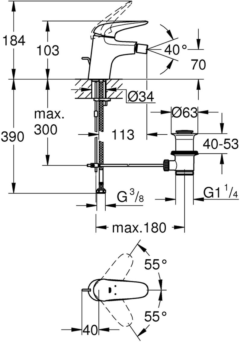"""Смеситель для биде """"Eurostyle"""" со сливным гарнитуром. Монтаж на одно отверстие. У смесителя металлический рычаг (без отверстия), керамический картридж 35 мм. Есть регулировка расхода воды, ограничитель температуры.  Хромированная поверхность.  Быстрая монтажная система.  Смеситель с шаровым шарниром, сливной гарнитур 1 1/4"""", гибкая подводка"""